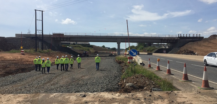 Engineers walking towards Bellshill Road                           bridge