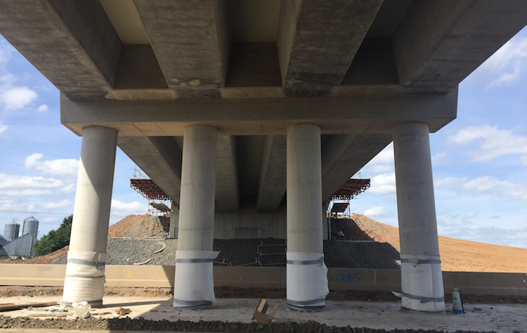 Underside of Bellshill Road showing 4                           beams and 4 central columns